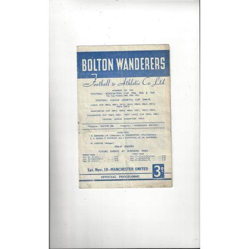 1956/57 Bolton Wanderers v Manchester United Football Programme