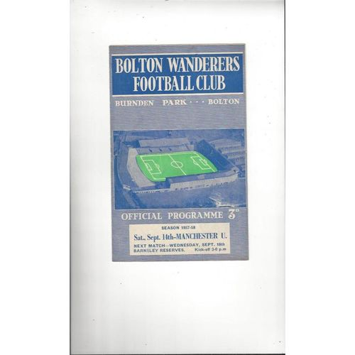 1957/58 Bolton Wanderers v Manchester United Football Programme