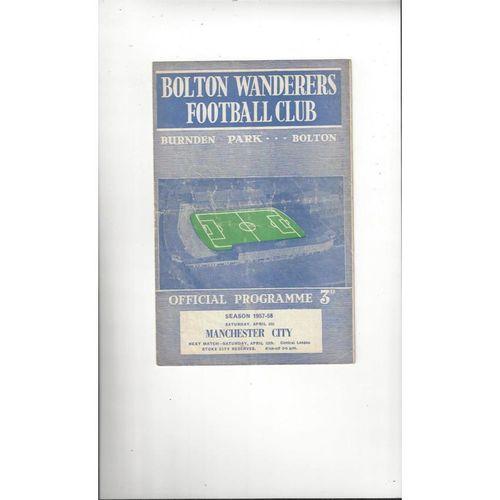 1957/58 Bolton Wanderers v Manchester City Football Programme