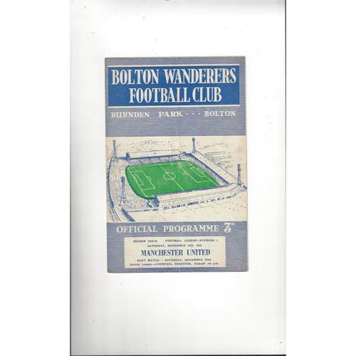 1958/59 Bolton Wanderers v Manchester United Football Programme