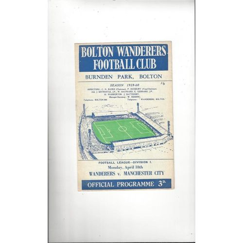 1959/60 Bolton Wanderers v Manchester City Football Programme