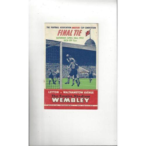 1952 Leyton v Walthamstow Avenue Amateur Cup Final Football Programme
