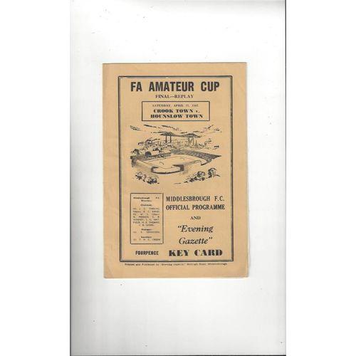 1962 Crook Town v Hounslow Town Amateur Cup Final Replay Football Programme