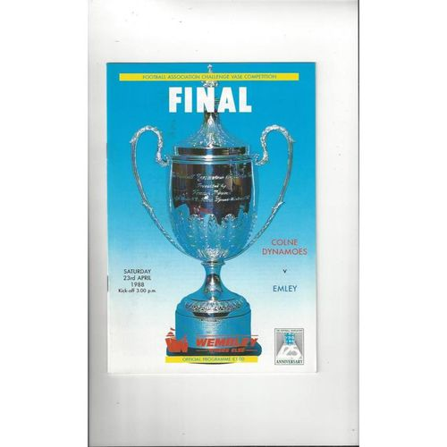 1988 Colne Dynamoes v Emley FA Vase Final Football Programme