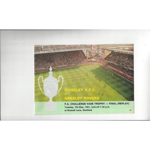 1991 Gresley Rovers v Guiseley FA Vase Final Replay Football Programme