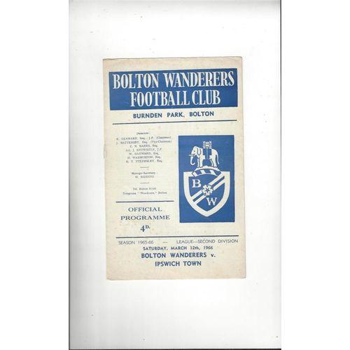 1965/66 Bolton Wanderers v Ipswich Town Football Programme