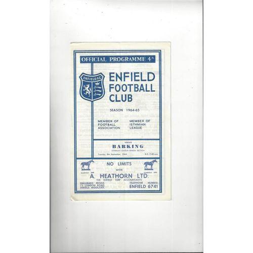 1964/65 Enfield v Barking Football Programme