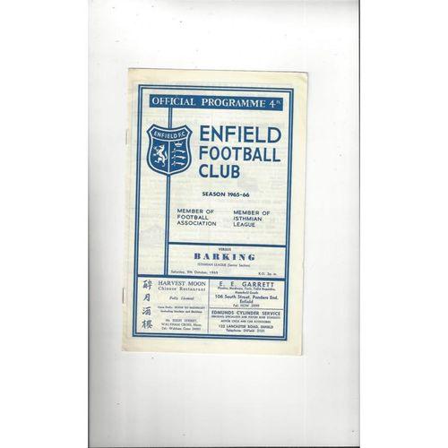 1965/66 Enfield v Barking Football Programme