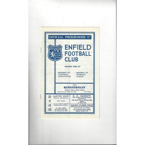 1966/67 Enfield v Kingstonian Football Programme