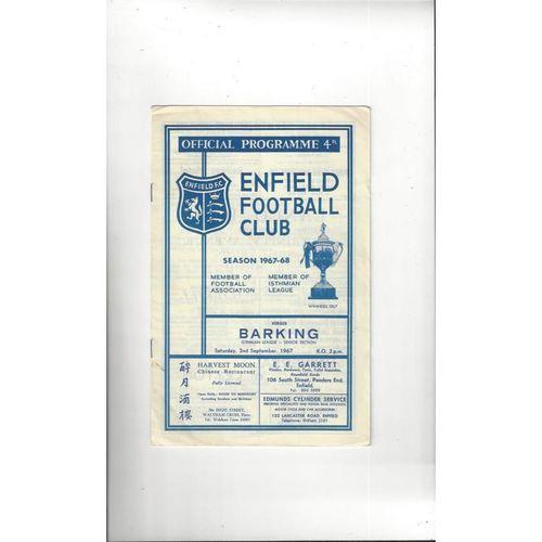 1967/68 Enfield v Barking Football Programme