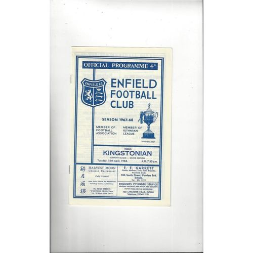 1967/68 Enfield v Kingstonian Football Programme