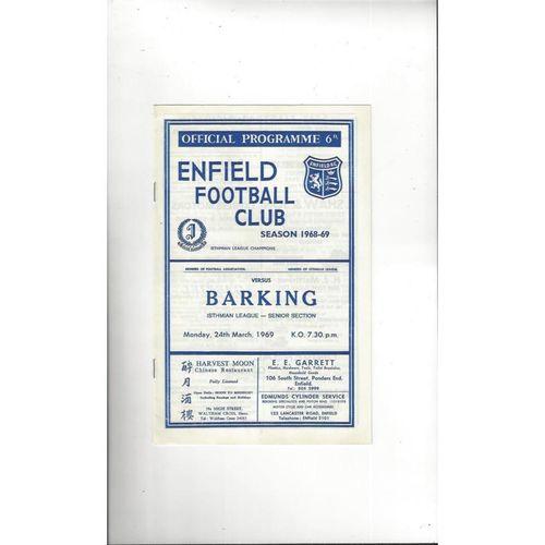 1968/69 Enfield v Barking Football Programme