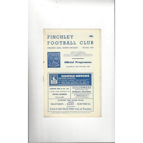 1964/65 Finchley v Barking London Senior Cup Football Programme