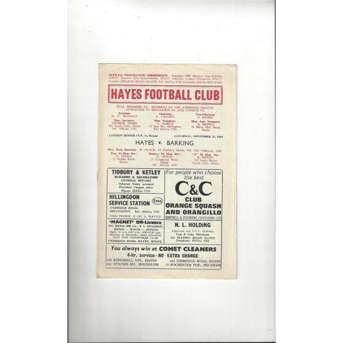 1964/65 Hayes v Barking London Senior Cup Football Programme