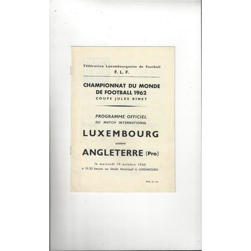 1960 Luxembourg v England Football Programme