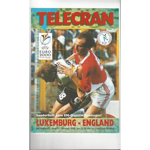 1988 Luxembourg v England Football Programme