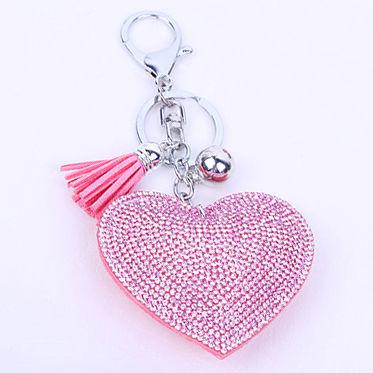 Diamante Heart Keychain Silver pink