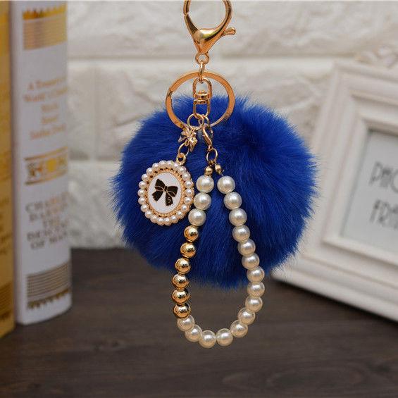 Pearl Disc PomPom Keychain Blue
