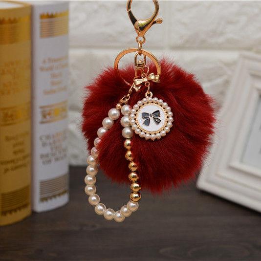 Pearl Disc PomPom Keychain maroon