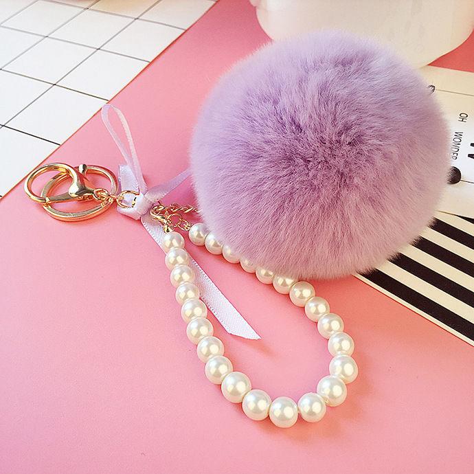 Pearl PomPom Keychain Mauve