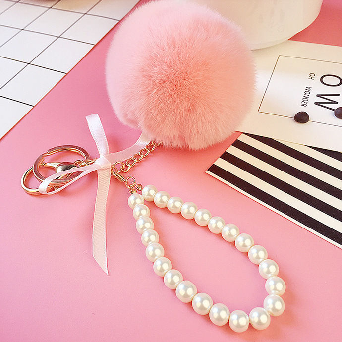 Pearl PomPom Keychain Pink