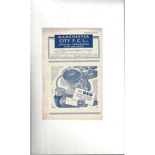 1946/47 Manchester City v Bolton Wanderers Football Programme