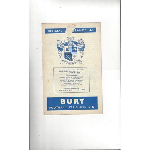 1962/63 Bury v Leeds United Football Programme