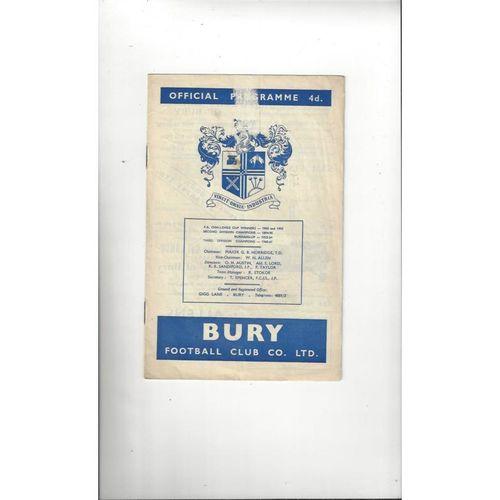 1963/64 Bury v Portsmouth Football Programme