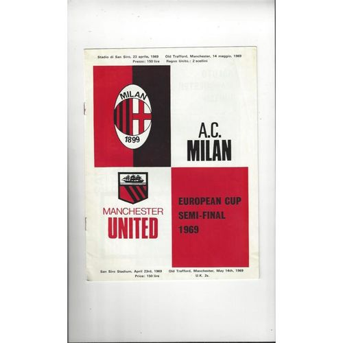 1968/69 AC Milan v Manchester United European Cup Semi Final Football Programme