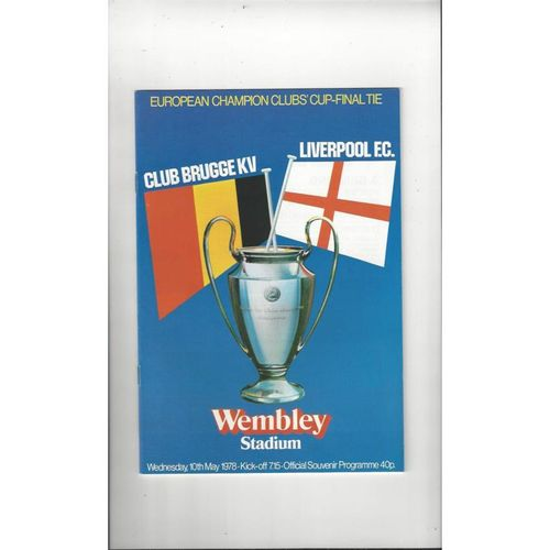 1978 Club Brugge v Liverpool European Cup Final Football Programme