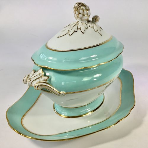 An elegant small French sauce tureen on stand