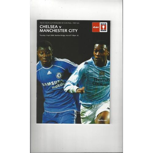 2008 Chelsea v Manchester City FA Youth Cup Final Football Programme