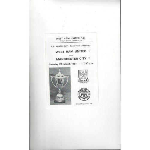 1980/81 West Ham United v Manchester City Youth Cup Semi Final Football Programme