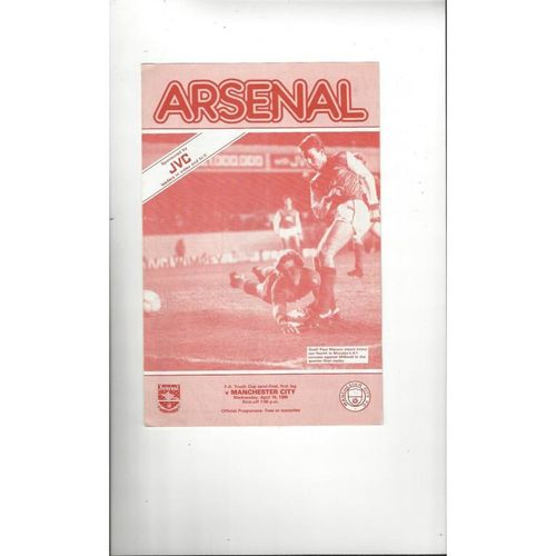 1985/86 Arsenal v Manchester City Youth Cup Semi Final Football Programme