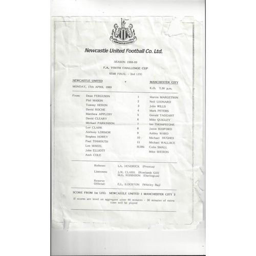 1988/89 Newcastle United v Manchester City Youth Cup Semi Final Football Programme