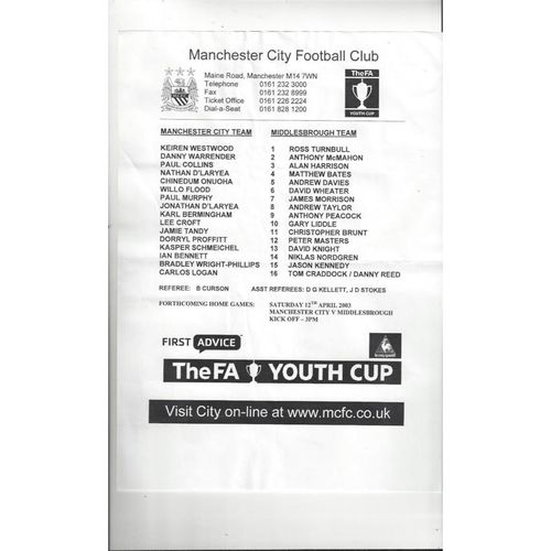 2002/03 Manchester City v Middlesbrough Youth Cup Semi Final Football Programme