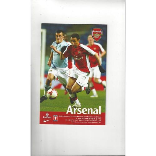2008/09 Arsenal v Manchester City Youth Cup Semi Final Football Programme