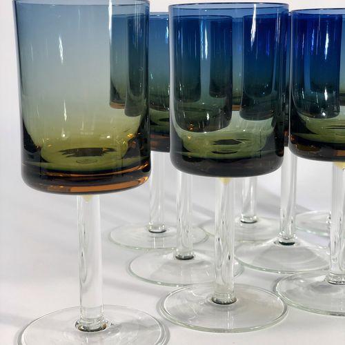 10 Modernist Bluerina amber fade wine glasses