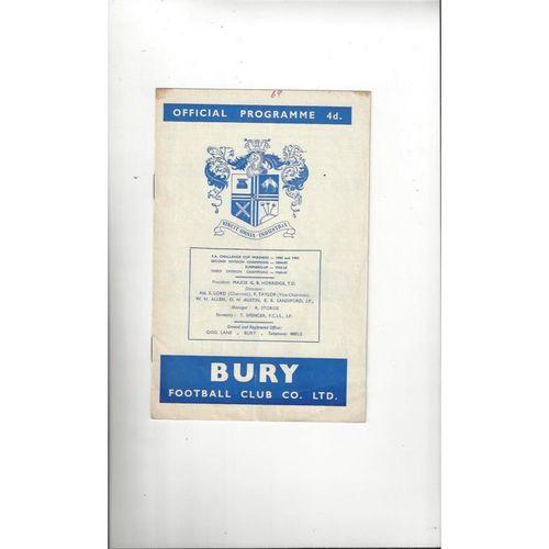 1964/65 Bury v Ipswich Town Football Programme