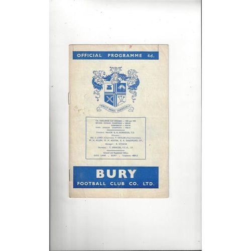 1964/65 Bury v Swansea Football Programme