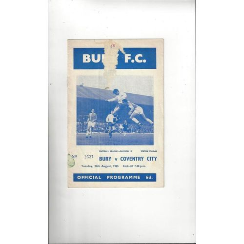 1965/66 Bury v Coventry City Football Programme