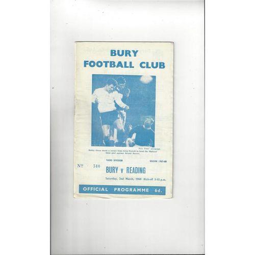 1967/68 Bury v Reading Football Programme