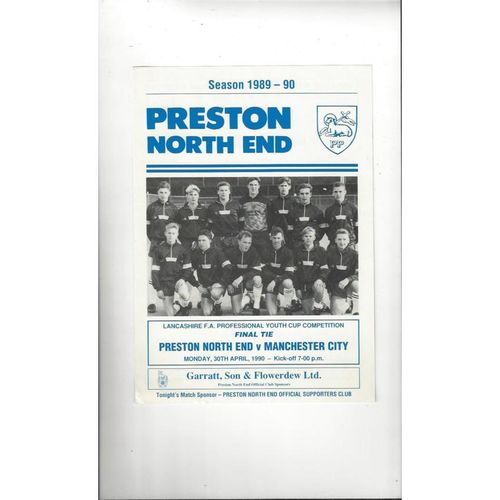 Preston v Manchester City Lancs Youth Cup Final Football Programme 1989/90