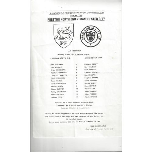 Preston v Manchester City Lancs Youth Cup Final Football Programme 1991/92