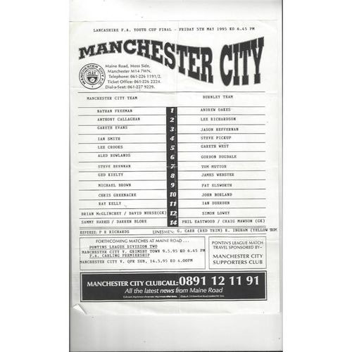 Manchester City v Burnley Lancs Youth Cup Final Football Programme 1994/95
