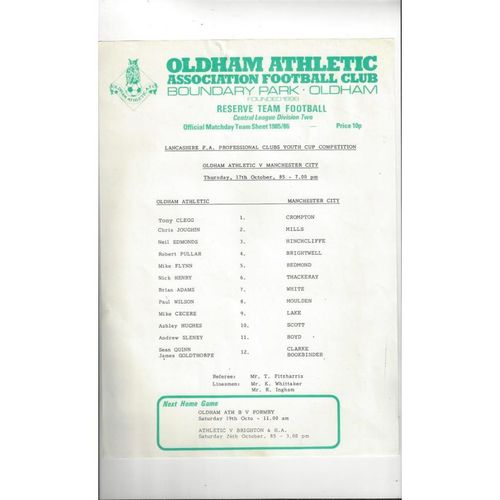 Oldham Athletic v Manchester City Lancashire Youth Cup Football Programme 1985/86