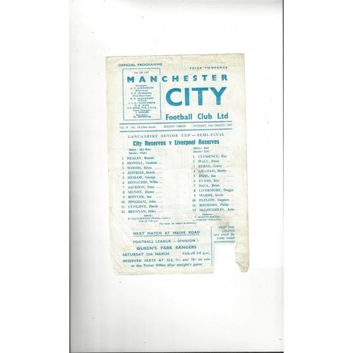 Manchester City v Liverpool Lancashire Senior Cup Semi Final Football Programme 1968/69