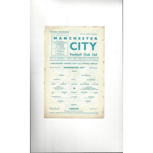 Manchester City v Chester Lancashire Senior Cup Replay Football Programme 1963/64