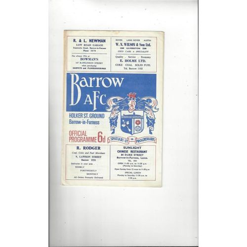 Barrow v Manchester United Lancashire Senior Cup Football Programme 1967/68 March