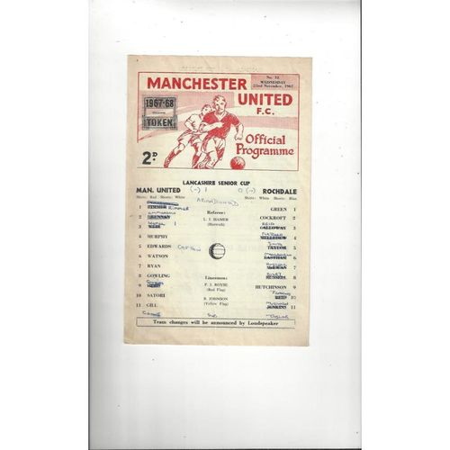 Manchester United v Rochdale Lancashire Senior Cup Football Programme 1967/68